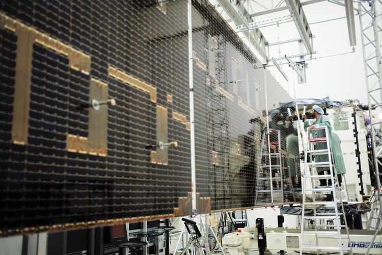 SmallGEO AG1: solar panel deployed for testing at IABG