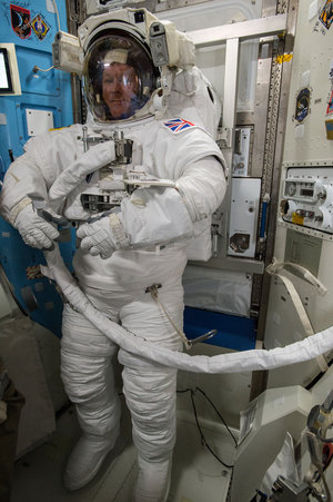 Tim Peake testing spacesuit before spacewalk