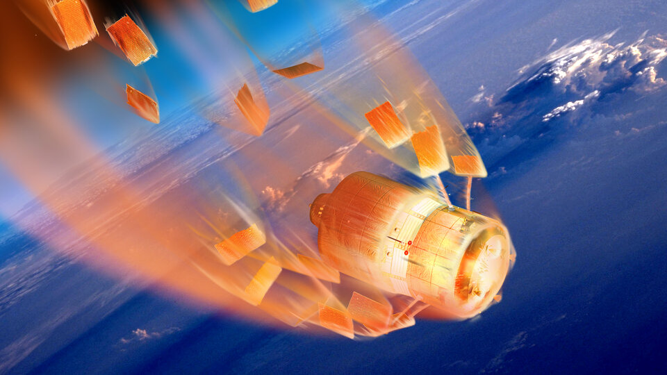 Artist's impression of ESA's Automated Transfer Vehicle (ATV) burning up as it re-enters the atmosphere