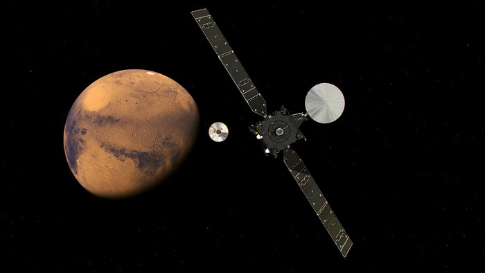 The ExoMars Trace Gas Orbiter and its entry, descent and landing demonstrator module, Schiaparelli, approaching Mars. The separation is scheduled to occur on 16 October 2016, about seven months after launch. Schiaparelli is set to enter the martian atmosphere on 19 October, while TGO will enter orbit around Mars.