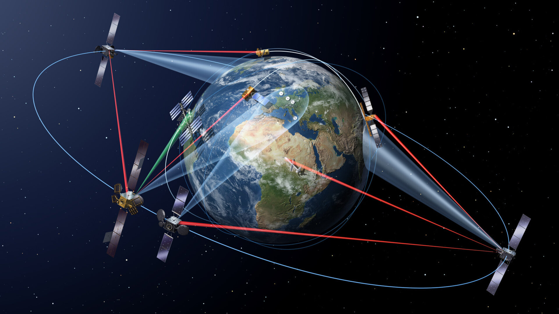 The European Data Relay System (EDRS) uses advanced laser technology to relay information collected by lower orbiting satellites to the Earth via geostationary nodes