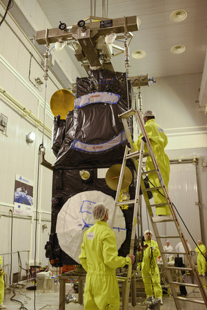 Sentinel-3A before being installed on its flight adapter