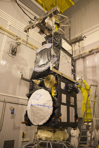 Sentinel-3A being installed on its flight adapter