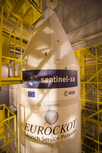 The Sentinel-3A logo has been applied to the Rockot fairing