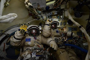 Yuri and Sergei before spacewalk