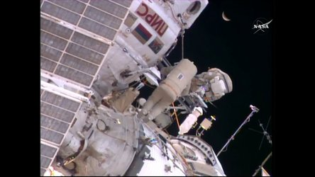 Yuri and Sergei spacewalk