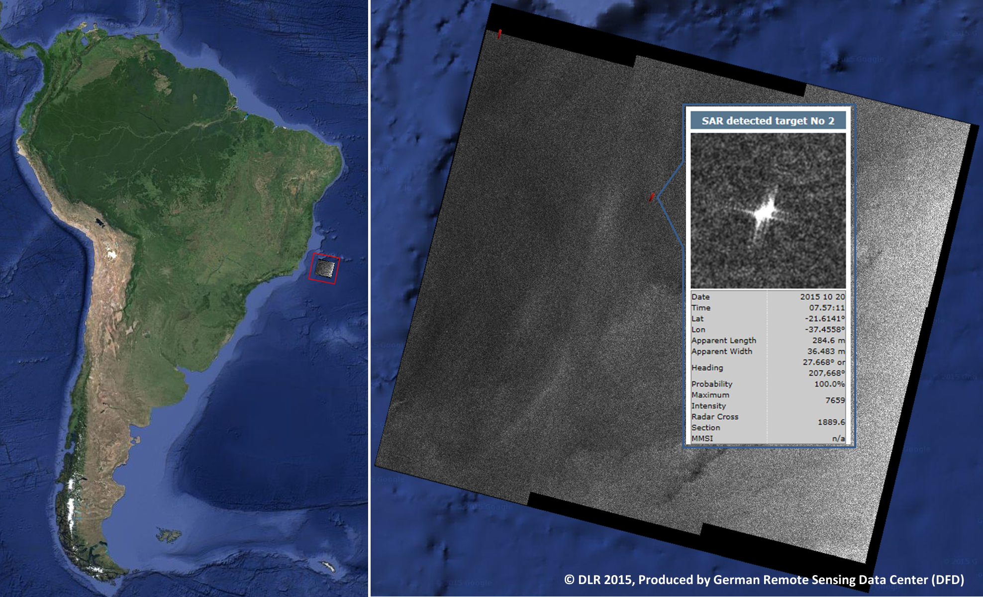 Space in Images - 2016 - 03 - Brazil coast via laser beam
