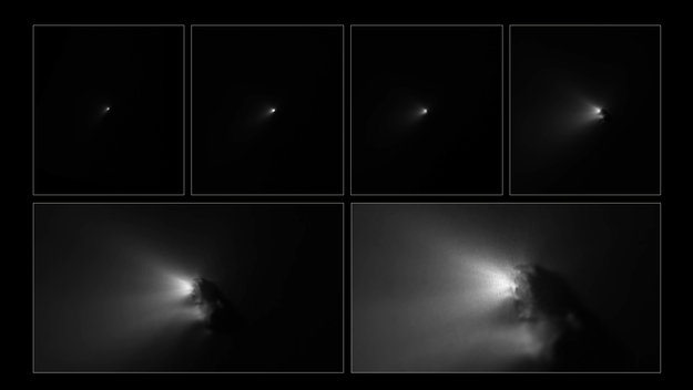 Giotto approaching Comet Halley