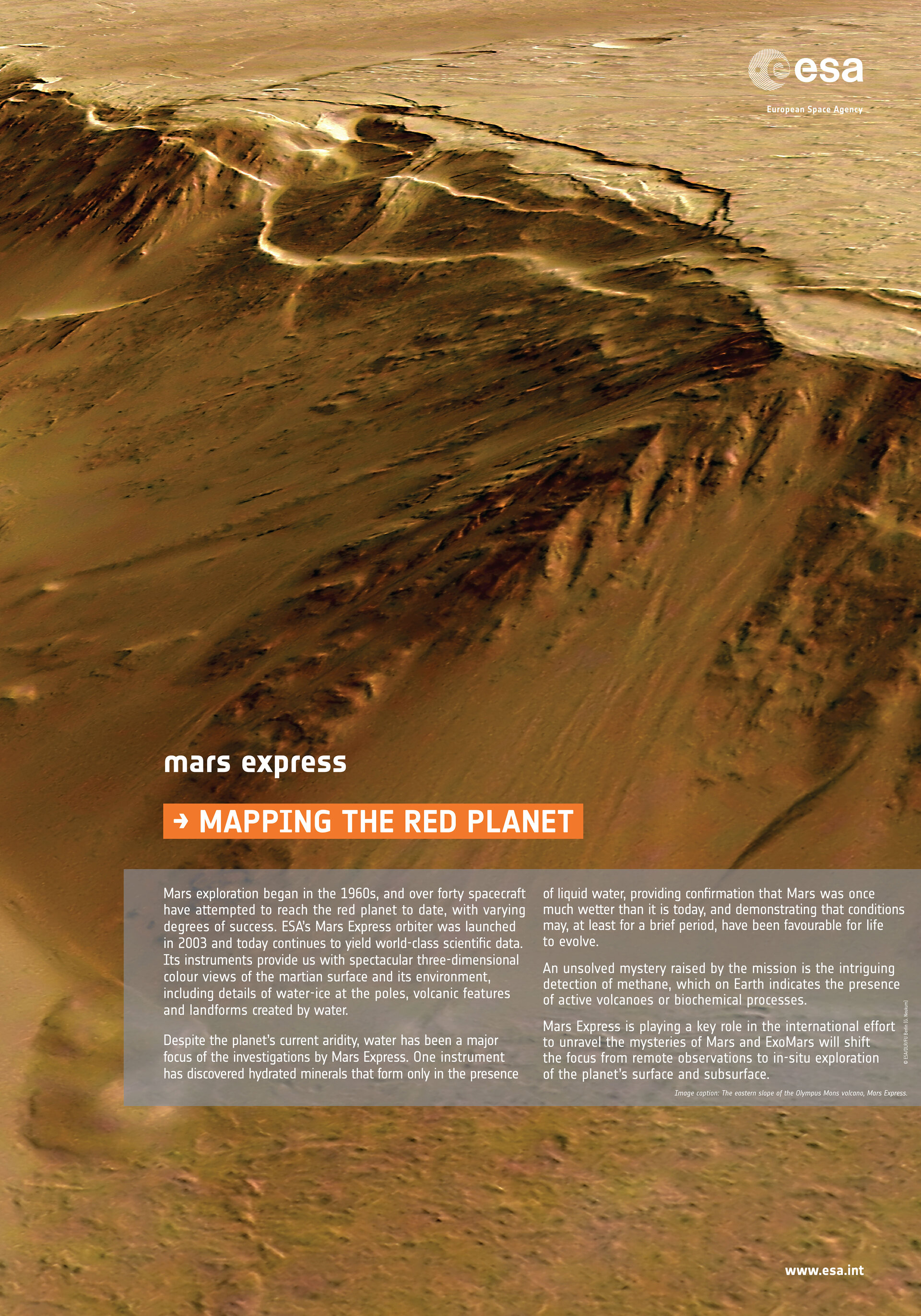 The eastern slope of the Olympus Mons volcano, Mars Express