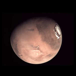 This image of Mars is a 'stack' of nine separate pictures created by amateur photographer Dylan O'Donnell, in Australia, using images acquired by the VMC camera on Mars Express