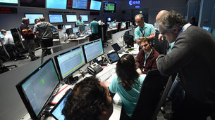 ExoMars Mission Control Team at work in the Main Control Room of ESA's European Space Operations Centre (ESOC) on launch day, 14 March 2016.