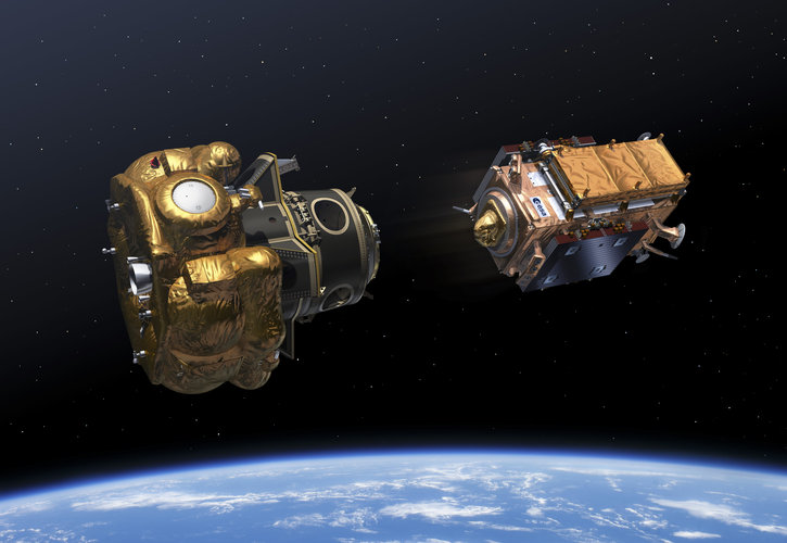 Artist's impression of the ejection of the Sentinel-1B satellite