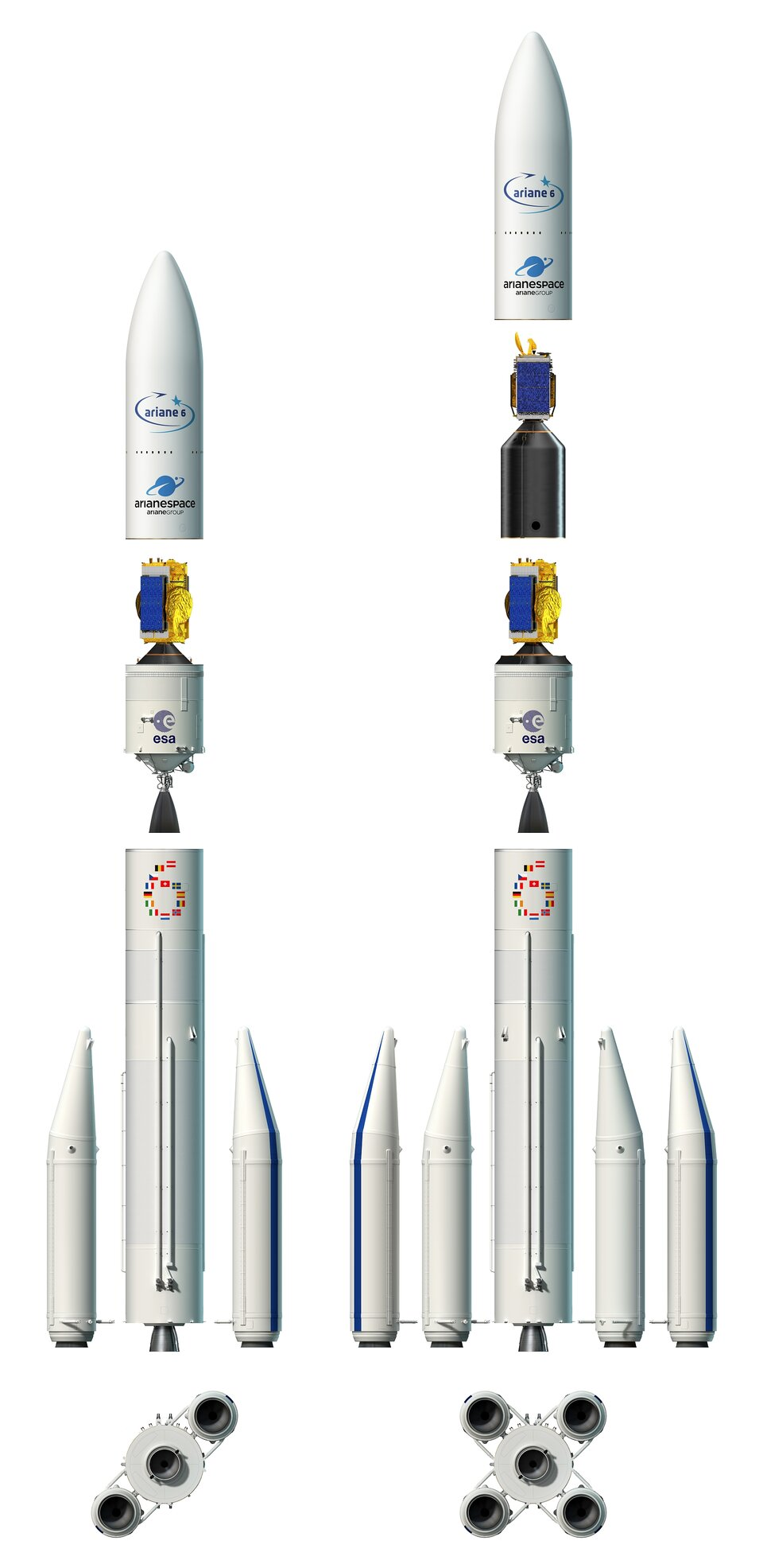 Artist's view of the two configurations of Ariane 6