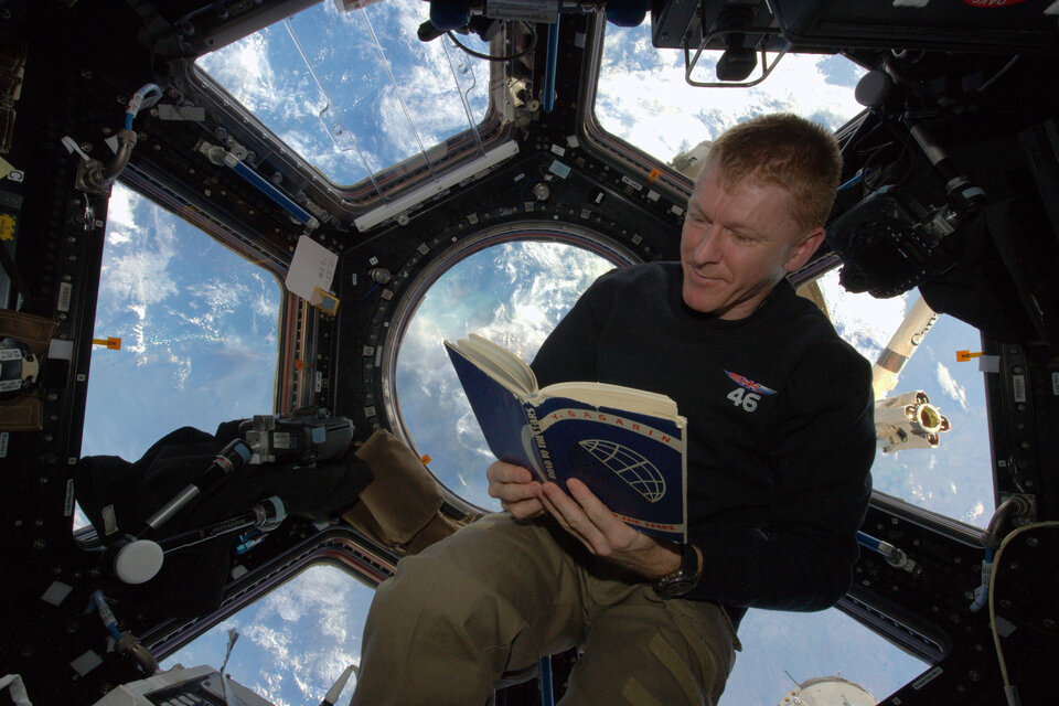 ESA astronaut Tim Peake with Road to the Stars on the International Space Station