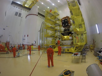 Sentinel-1B being encapsulated within its Soyuz fairing