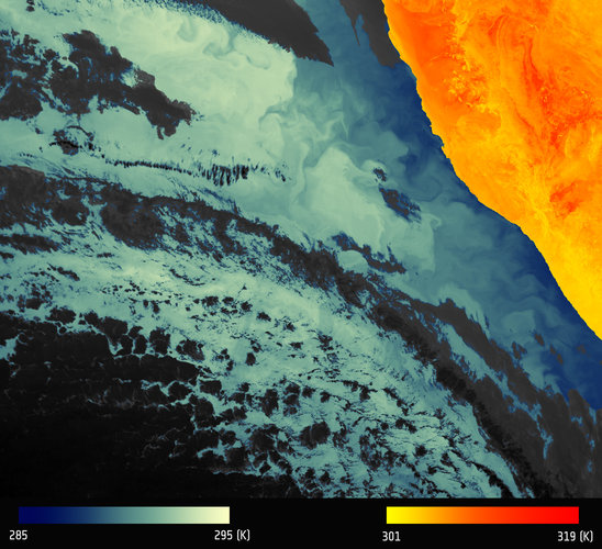 Thermal signature of Namibian coastline