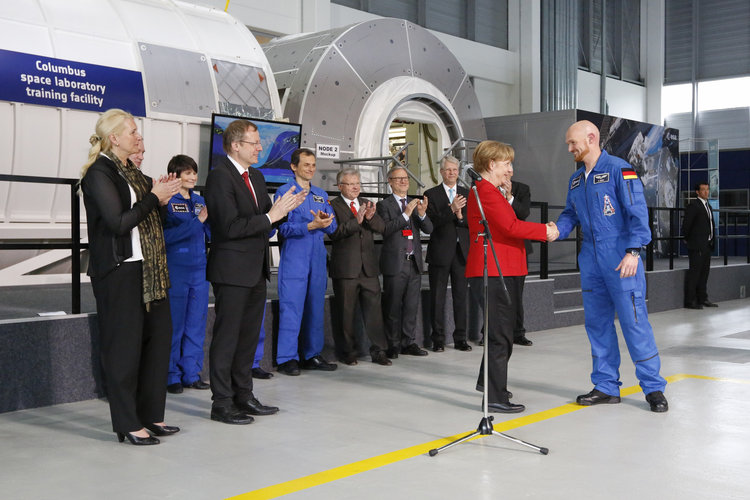 Angela Merkel and Alexander Gerst