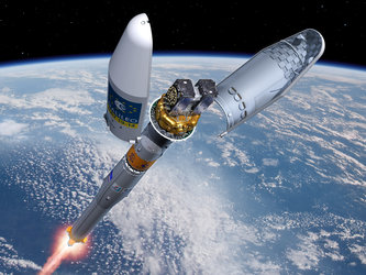 Artist's impression of the Soyuz Fregat fairing separation