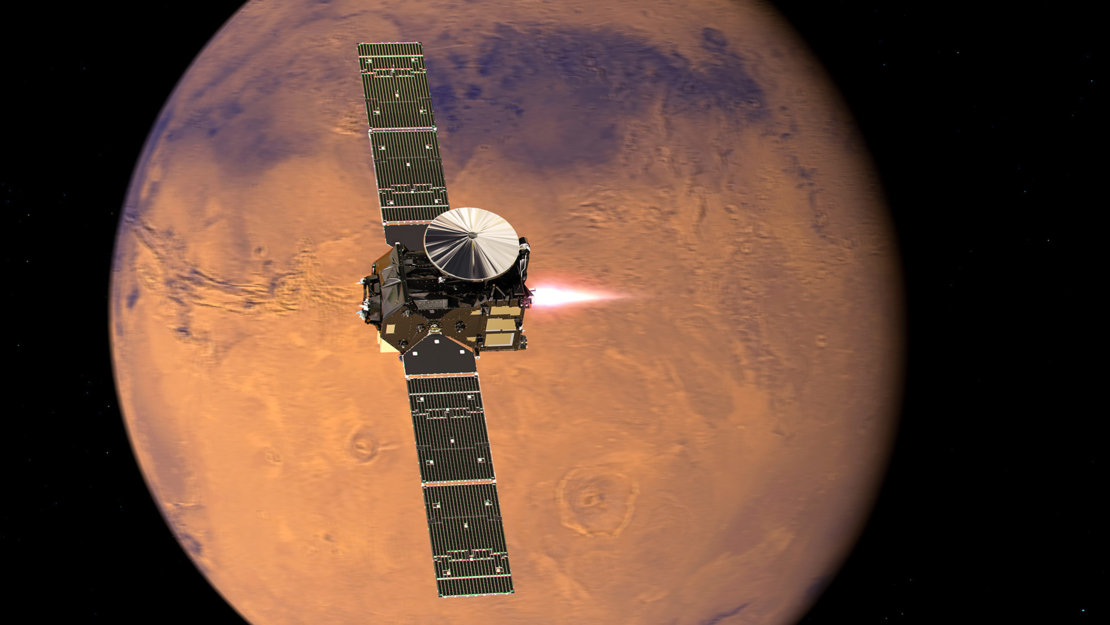 Artist rendition of ExoMars approaching Mars. (ESA)