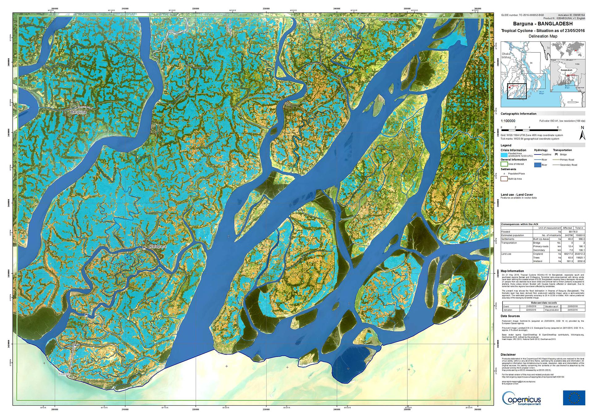 Space In Images Flood Map Of Barguna Bangladesh - Bangladesh map download