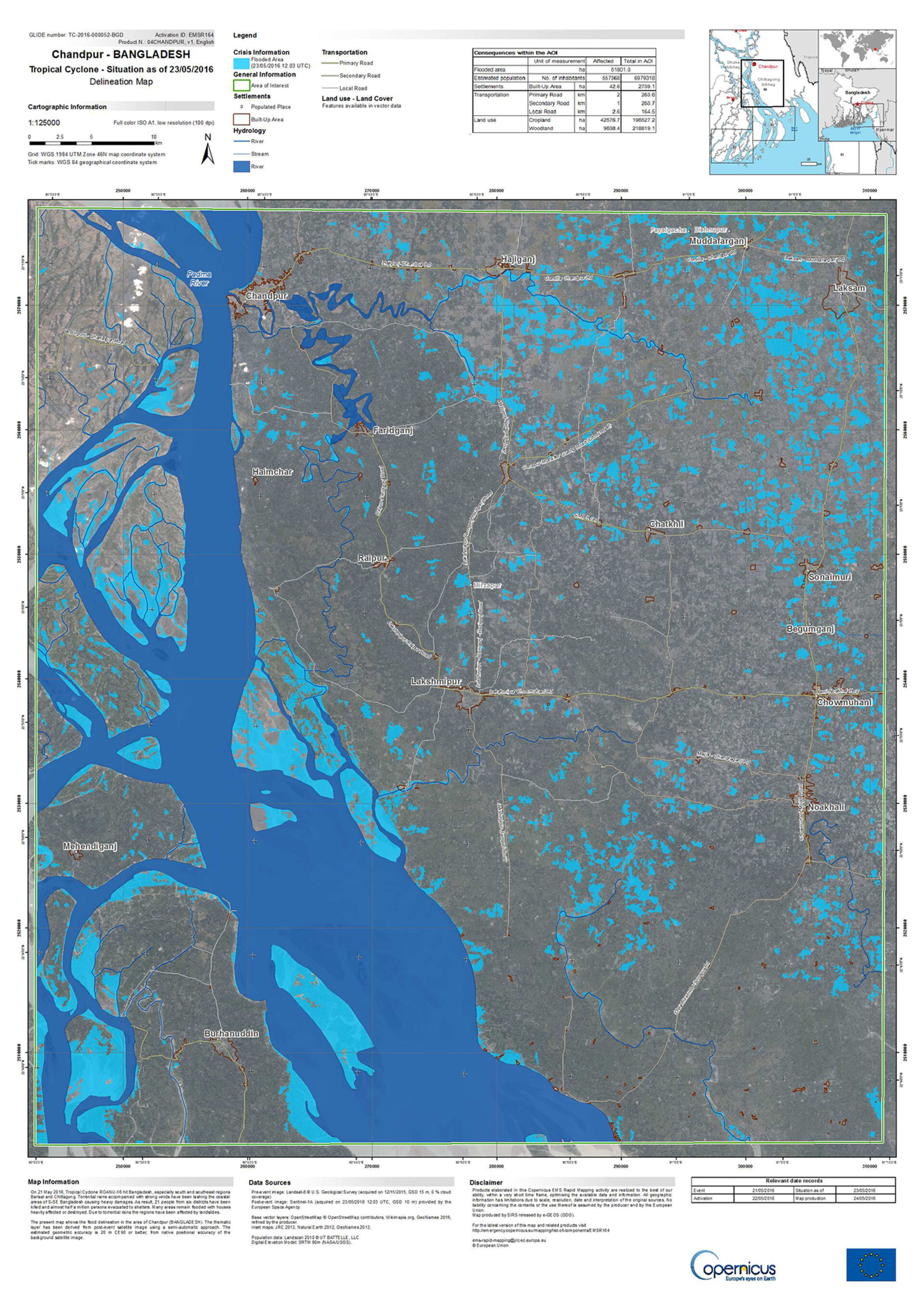 Flood map of Chandpur, Bangladesh