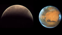 This triptych brings together three excellent images of Mars acquired this month by two cameras in space and one in Australia