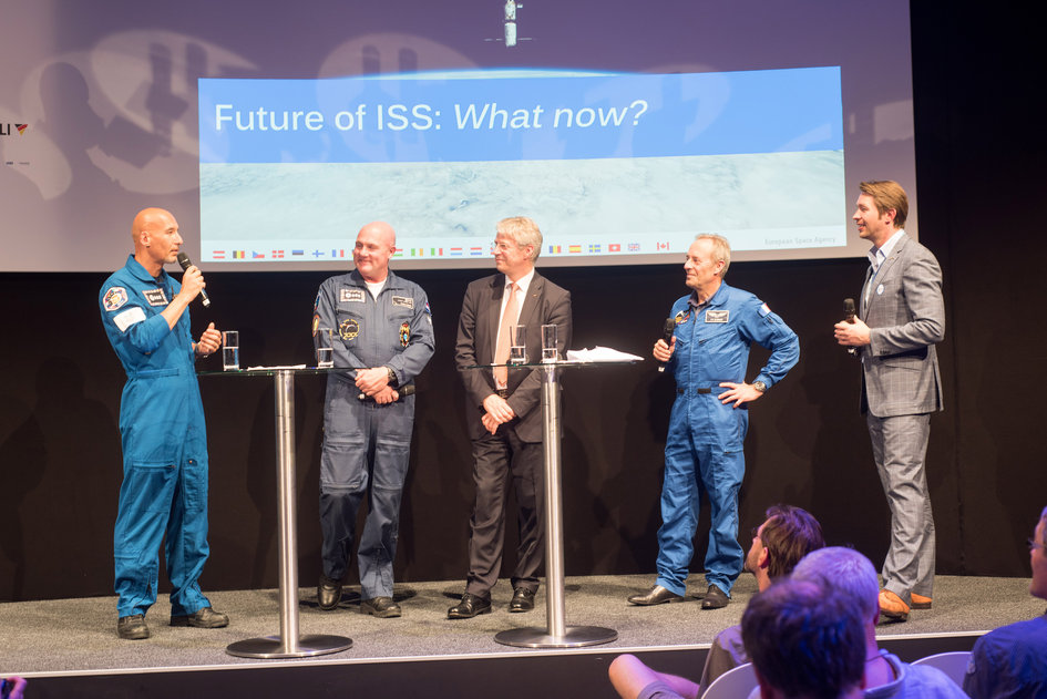 ESA astronauts during the presentation 'ISS Benefits: What's in it for us'