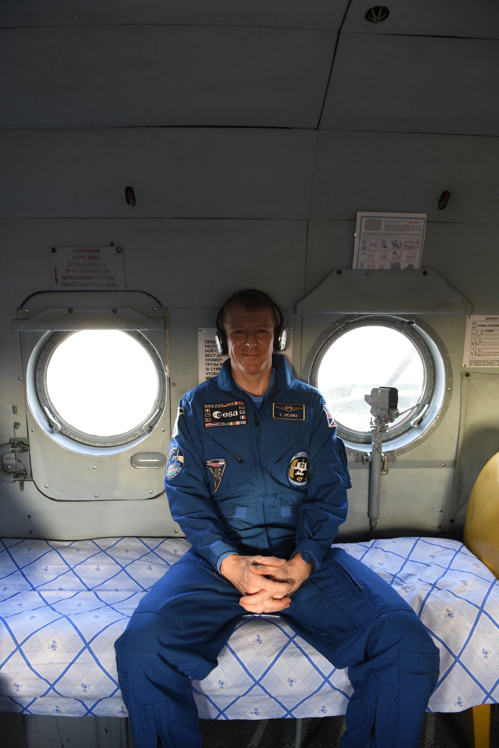 Tim Peake in a recovery helicopter shortly after landing