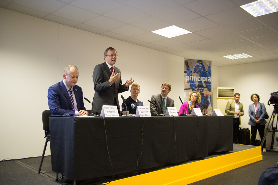ESA  DG Jan Woerner speaking at ESA/UK Space Agency Press conference with ESA astronaut Tim Peake