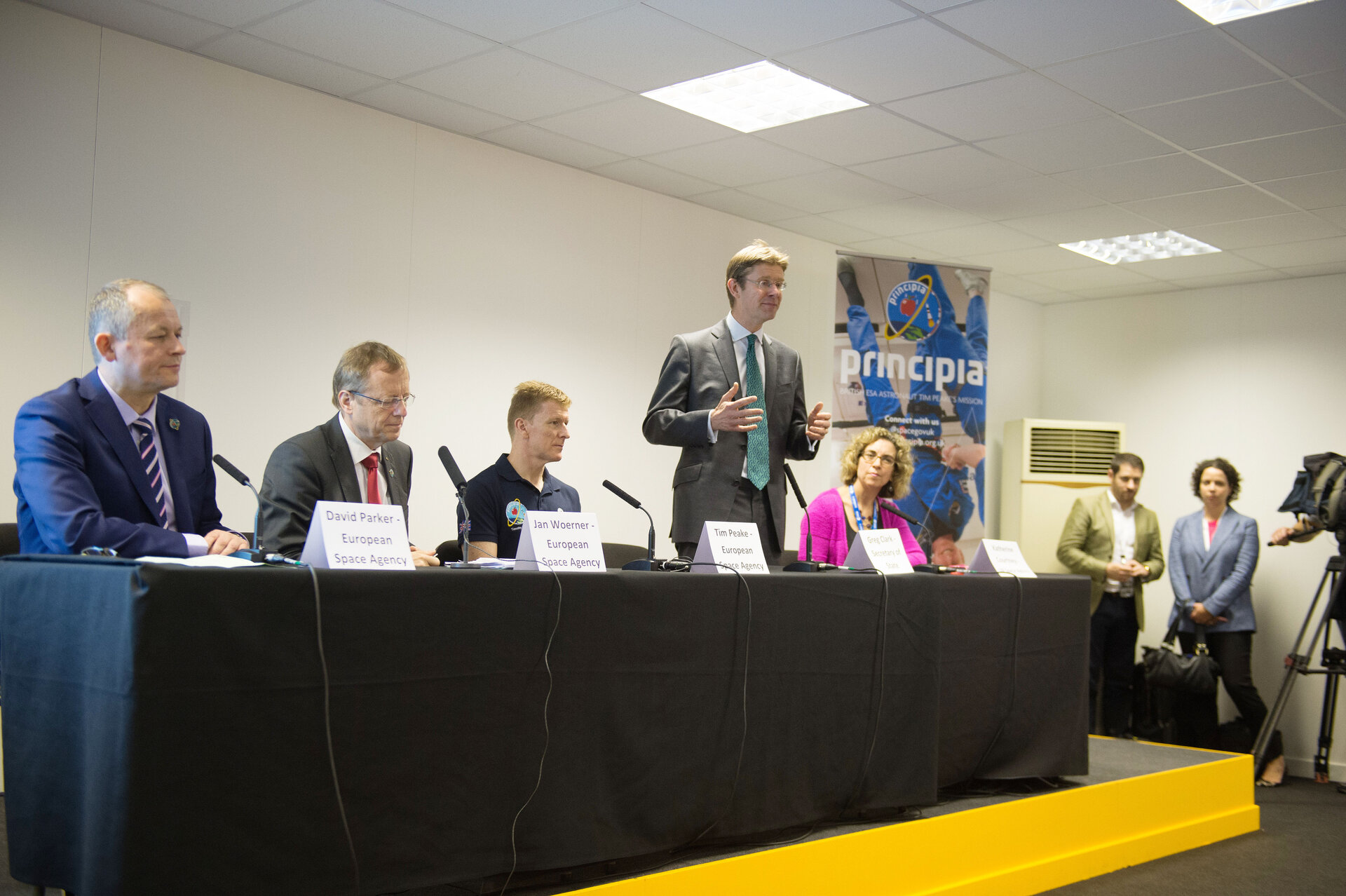 Greg Clark  speaking at Press conference with ESA astronaut Tim Peake