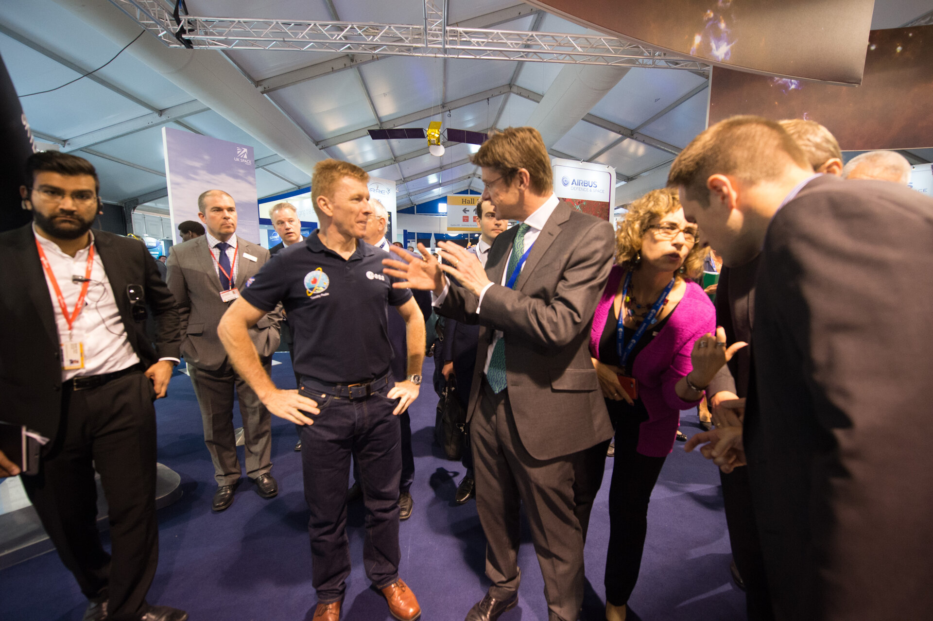 Greg Clark Secretary of State talking to Tim Peake