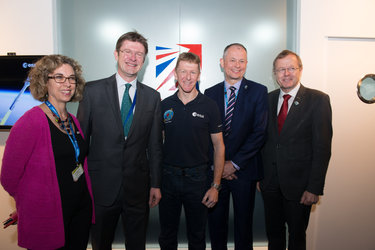 Katherine Courtney, Greg Clark, Tim Peake, David Parker, Jan Wörner