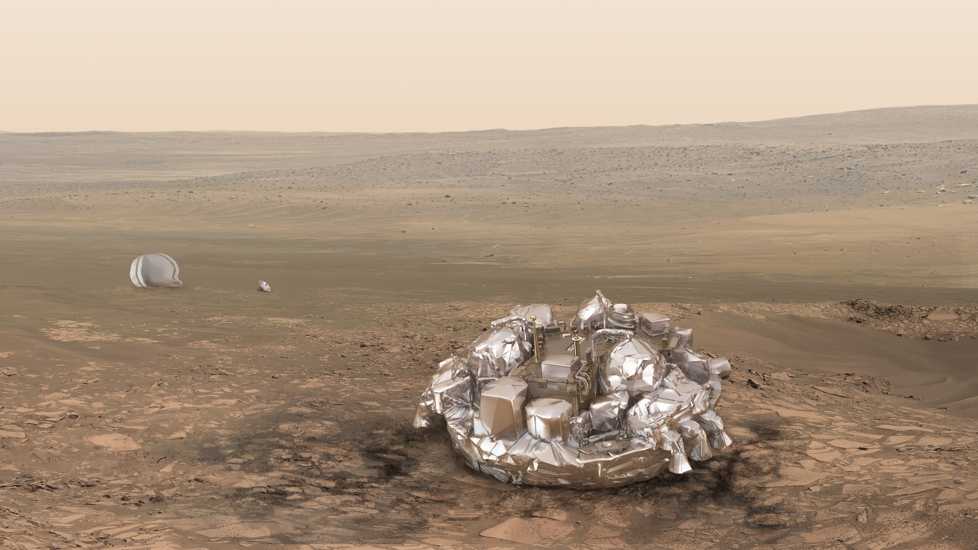 Artist impression of the Schiaparelli module on the surface of Mars