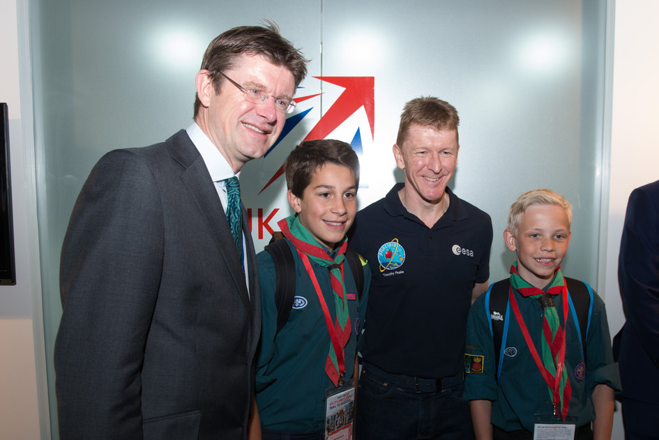 Tim Peake, Greg Clark at Futures Day, Farnborough Airshow 2016