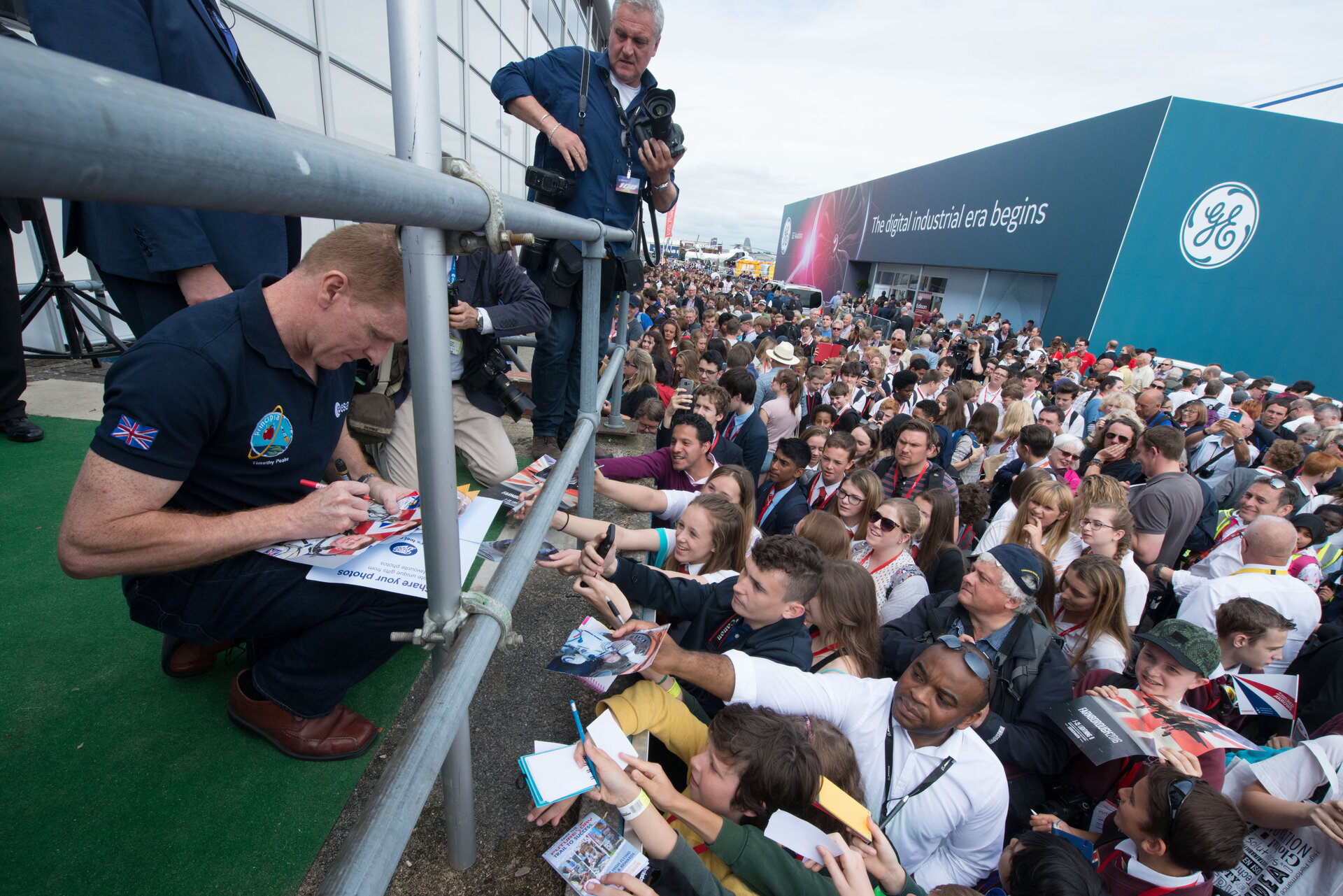 Tim Peake on the Media Centre balcony at Farnborough Airshow 2016