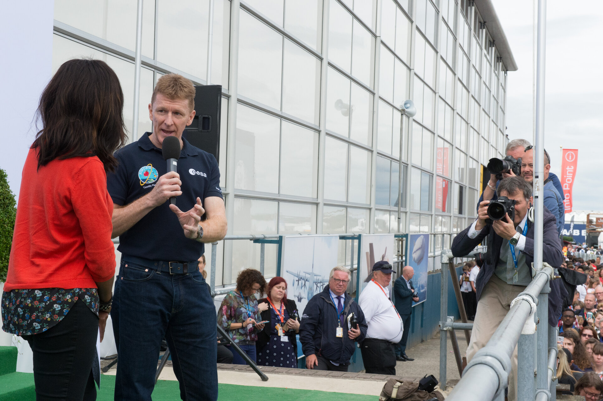 Tim Peake on the balcony at Farnborough Airshow 2016