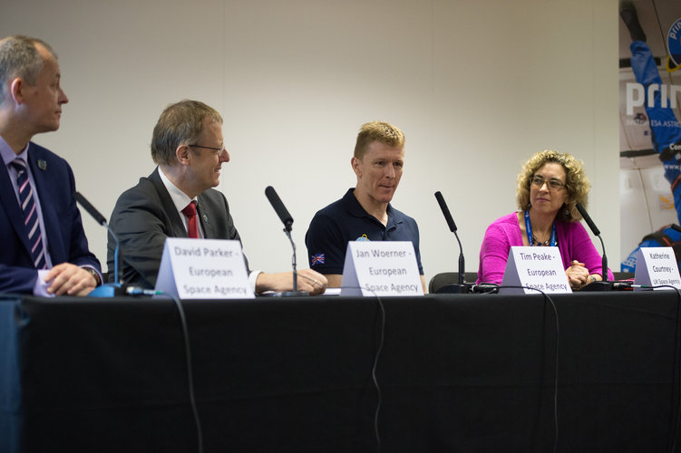 Tim Peake speaking at ESA/UK Space Agency Press conference