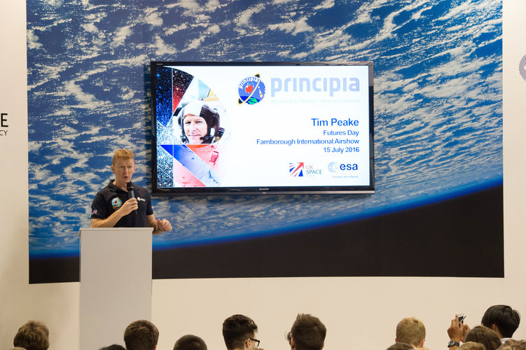 Tim Peake speaking during Futures Day