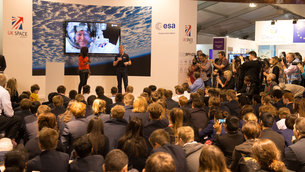 Tim Peake talking to school children in the Space Zone on Futures Day