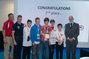 Tim Peake with 2nd place winners of International Rocketry Competition 2016