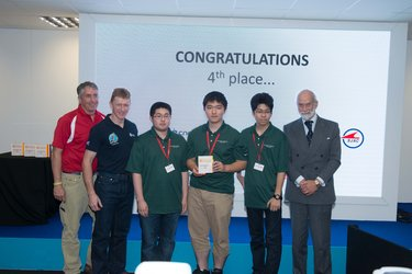 Tim Peake with 4th place winners of  International Rocketry Competition
