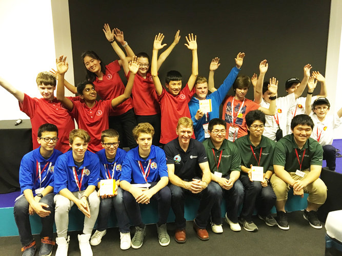 Tim Peake with the participants of the International Rocketry Competition 2016