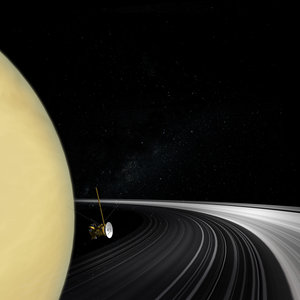 Cassini orbiter crossing Saturn's ring plane