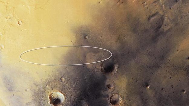 ESA Mars landeren Schiaparelli's landingsplads