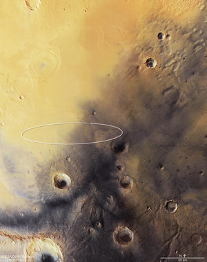 Mars Express image of Schiaparelli's landing site – with ellipse