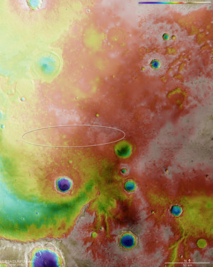 Meridiani Planum topography with Schiaparelli landing ellipse