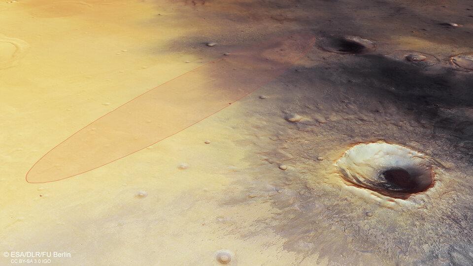 Perspective view in Meridiani Planum – with Schiaparelli landing ellipse