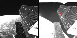 Sentinel-1A's solar array before and after the impact of a millimetre-size particle on the second panel