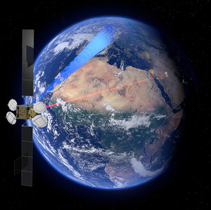 Sentinel-2 transmitting data by laser