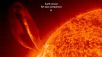 Solar eruption larger than Earth